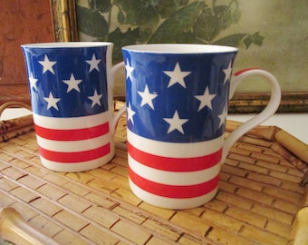 Vintage Crown Trent Pair of England Made Mugs, American Flag Coffee Mugs, Porcelain Red, White and Blue, Fourth of July Mugs