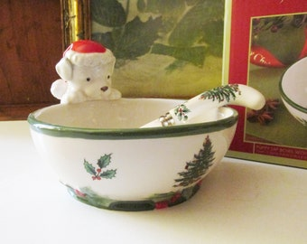 Spode Christmas Tree Puppy Dip Bowl And Spreader, Spode Christmas Bowl, Candy Dish