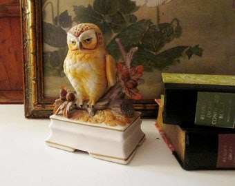 Vintage Towle Porcelain Owl Musical Figurine, Library Decor, Mantel Decor, Made in Japan, Gift For Owl Lover