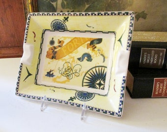 Vintage England Old World Map Dish, Porcelain Souvenir Trinket Tray, Seabourn Luxury Cruise Fine China, Yacht Decor