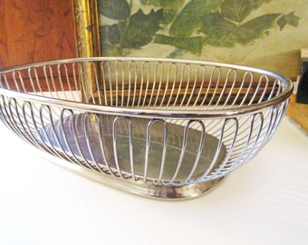 Italian WMF Silver Wire Bowl, Fraser's Italy Stainless, Alessi Style Bread Basket, Hollywood Regency, Silver Catchall, Mod Silver Basket