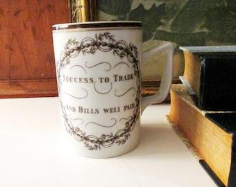 Mottahedeh Sentiment Mug, Typography Coffee Mug, Congratulations Mug, Success to Trade and Bills Well Paid, Vintage Gift, WFH Mug