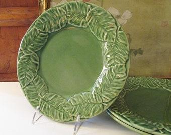 Vintage Bordallo Pinheiro Palm Leaf, Green Majolica Style Dinner Plate, Palm Beach Decor, Alfresco Dining