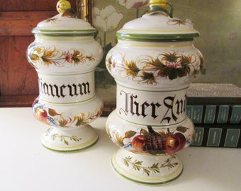 Vintage Pair of Italian Apothecary Jars, Lidded Tall Jars, Italian Country Decor, Tuscany Decor
