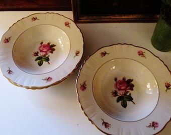 Six Syracuse Rim Soup Bowls, Victoria Pattern, Rosebud, Dessert Bowls, Romantic Dining, Cottage Chic, Syracuse China, Federal Shape, USA