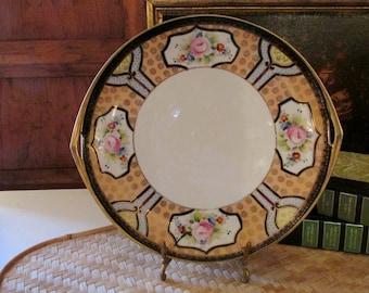 Vintage Noritake Gilded Serving Dish, Handled Dessert Plate, Hand Painted Porcelain Dish