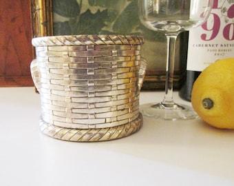 Vintage Woven Basket Wine Coaster, Silver Plated Wine Bottle Coaster, Hollywood Regency Bar Cart Decor