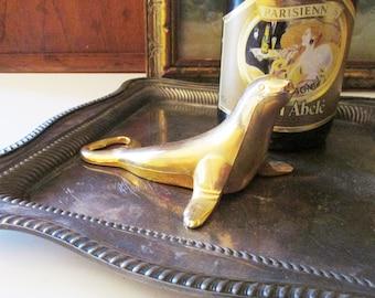 Vintage Gold  Plated Dolphin or Seal BMF Bottle Opener Bottle Nose West Germany Soda/Beer Bottle Opener, Bar Cart Decor, Hollywood Regency