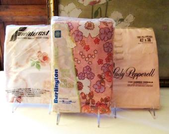 Vintage Dead Stock Pillowcases, Fieldcrest, Lady Pepperell, Burlington, Standard Pillowcases, 1970's Pink Floral, King Pillowcases
