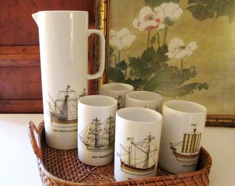 Thomas Rosenthal Germany, Mid Century Nautical Pitcher Set, Clipper Ship, Porcelain Drinking Set, Preppy Decor, The Gilded Tassel