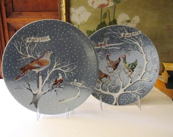 Two Haviland Limoges Christmas Plates, Noel Plates, Three French Hens Plate , Two Turtle Doves, 1970's, Marked r. hetreau