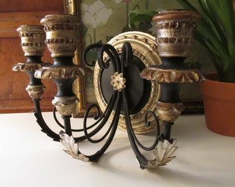 Vintage Italian Florentine Wood and Gilt Candlestick Sconce, Wrought Iron Scroll, Three Arm Hollywood Regency Wall Gallery Decor