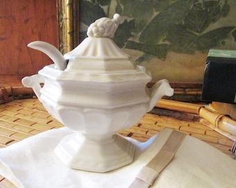 "Red Cliff Ironstone, ""Grape"" Mini Ironstone Tureen, Mustard Pot, Farmhouse Chic, Jelly Sauce Pot, White Ironstone Pot with Serving Spoon"