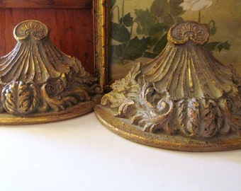 Vintage Pair of Bombay Company Wall Shelves, Gilded Acanthus Style Wall Shelf, Rococo Style, Hollywood Regency, Wall Gallery Decor