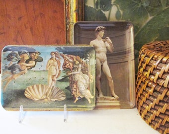 Vintage Museum Art Melamine Tray, Birth of Venus, David Small Tray, Made in Italy, Souvenir Tray, Sold Separately