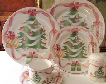 Vintage Sango Christmas Dinnerware, Home For Christmas, Pink And Green Holiday, Heart and Ribbon, Palm Beach Christmas