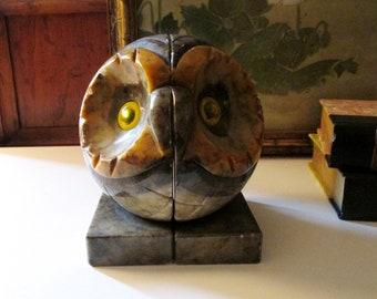 Vintage Carved Alabaster Owl Bookends, Library Decor, Italian Alabaster Bookends, Hand Carved Bookends