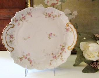 Vintage French Theodore Haviland Dessert Plate, Porcelain Floral Small Cake Plate, Romantic Porcelain Tray, Platter