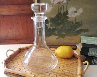 Vintage Wine Decanter, Glass Decanter, Bar Cart Decor, Hollywood Regency, Wine Carafe