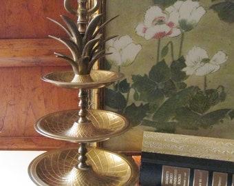 Vintage Three Tier Pineapple Stand, Brass Tibit Tray, Hollywood Regency, Jewelry Stand, Boho Brass Decor