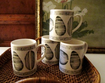 Vintage English Set of Four Mugs, Coffee Mugs, Boho Chic Mug Set, Organic Rock Mugs, English Ironstone, Farmhouse Chic Decor