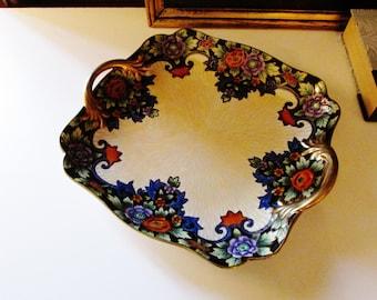 Lusterware Noritake Handled Dish, Anitque Noritake Tray, Hand Painted Porcelain Dish, Hollywood Regency, Coffee Table Decor