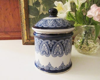 Vintage Bombay Tile Collection Box,  Blue and White Lidded Jar, Bombay Company Chinoiseire Box, Home Office Decor,