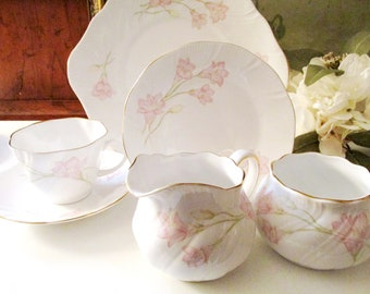 Vintage Rosina China Six Tea Cups and Six Plates, Queens's England, Pink Floral Bone China, Sold Separately