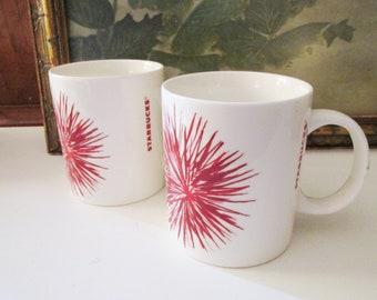 Two Vintage Christmas Starbucks Mugs, Red and White Coffee Mugs, 12 Ounce Mugs, Vintage Gifts, Holiday Mugs