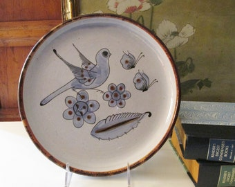 Vintage Mexican Pottery Round Tray, Blue Bird Pottery Plate, Boho Wall Decor, Hand Painted Mexican Pottery