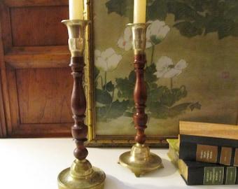 Vintage Boho Candlesticks, Etched Brass and Wood Candleholders, Rustic Candlesticks, Mantel Decor, Romantic Brass Decor