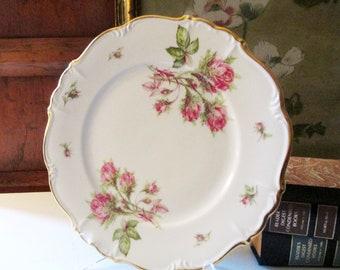 Three Edelstein Moss Rose Dinner Plates, Bavaria Germany Porcelain, Romantic Pink Roses Dinnerware, Wedding China