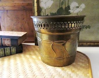 Vintage Brass Planter, Hollywood Regency, Cachepot, Enesco, Boho Chic, Indoor Planter, Palm Beach Decor