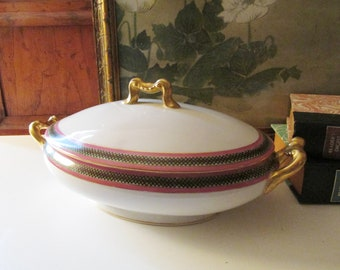 D & L Limoges Covered Vegetable Dish, Porcelain Pink and Green Trim Lidded Dish, French Serving Dish, Casserole Dish