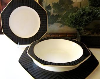 "Vintage Villeroy & Boch Hollywood Regency Dinnerware, ""Black Pearl"", Heinrich Octagonal Fine Bone China"