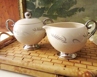 Vintage Flintridge Continental Sugar Bowl and Creamer Set, MCM China, Retro Wedding China,