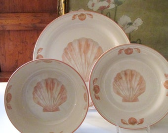 Vintage Sango Coquille Dinnerware, Palm Beach Dining Decor, Sea Shell Plate, 1980's, Coupe Cereal, Salad, And Dinner Plate,