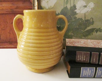 Vintage Yellow Two Handled Vase, Unmarked Bauer Ringware Vase, Yellow Pottery Vase, American Pottery