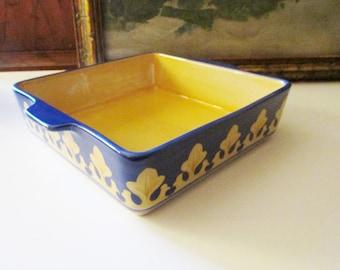 Vintage Small Baker, Villa Della Luna, Pfalzgraff, Oven Ware, Blue and Yellow Kitchen Decor, Italian Kitchen