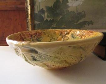 Vintage J. Willfred Majolica Bowl, Embossed Leaf Bowl, Made in Portugal, Charles Sadek Import,
