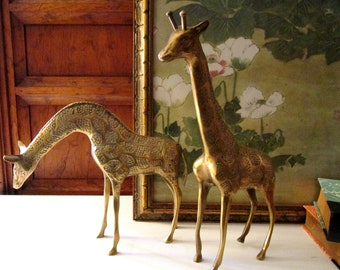 Vintage Pair of Brass Giraffes, Gold Giraffe Pair, Mantel Decor, Hollywood Regency, Tall Giraffes, Brass Animals