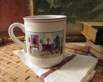Naif Christmas Mug, Villeroy and Boch, Folk Art Christmas Mug, Laplau, Holiday Mug, Tea Mug, Christmas Mug