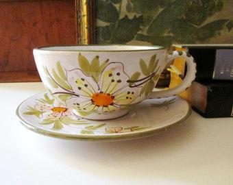 Vintage Italian Super Jumbo Cup and Saucer, Hand Painted Soup Bowl, Italian Pottery, Vintage Gift, Jumbo Ice Cream Bowl