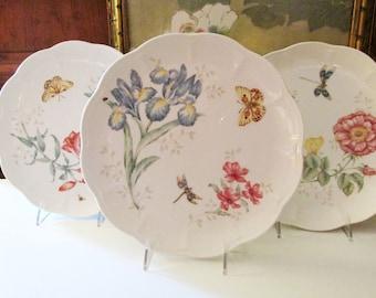 Three Lenox Butterfly Meadow Dinner Plates, Frittary, Orange Sulphur, Dragonfly, Spring Dinnerware