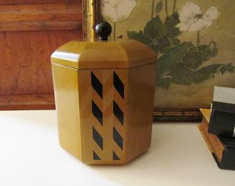 Vintage Goebel Lacquerware Ice Bucket, Retro Bar Ware, Small Chevron Design, Japanese Octagonal 1970's Bar Decor