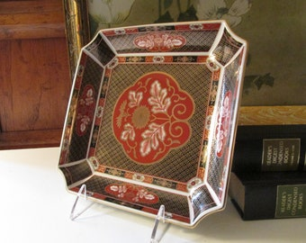Vintage Chinoiserie Trinket Tray, Imari Porcelain Tray, Imari Red and Black Dish, Home Office Decor, Chinoiserie
