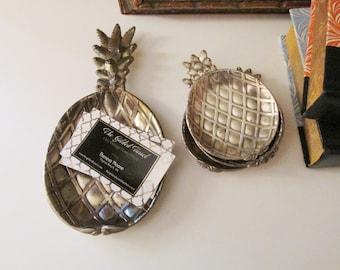 Vintage Five Piece Pineapple Tray Set, 1970's Silver Tone Metal Pineapple Decor, Retro Small Trays