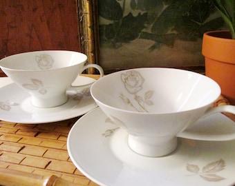 Vintage Pair Rosenthal Classic Rose Teacup and Saucer, Raymond Lowey, Mod Porcelain Teacup And Saucer, German PorcelainTeacups