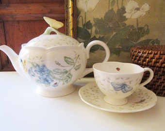 """Lenox """"Butterfly Meadow"""" Teapot and Teacup/Saucer, Spring Tea China, Mother's Day Gift"""