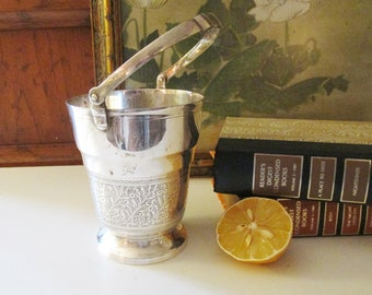 Vintage Silver Plated Bucket, Bar Cart Decor, Boho Chic Engraved Pail, Mini Wine Cooler
